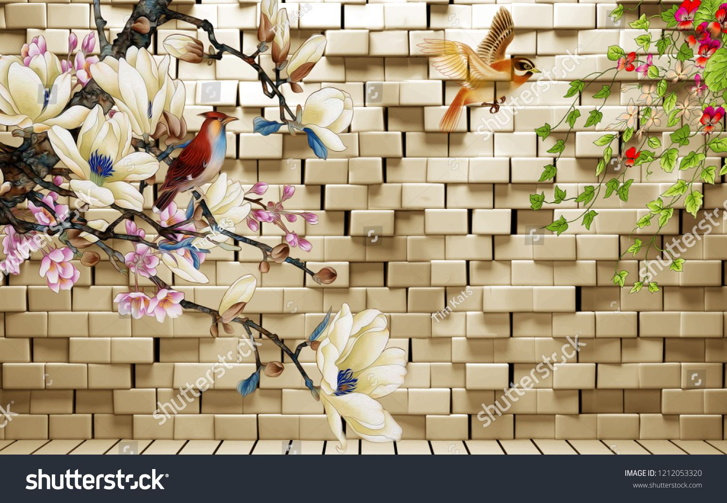 3d Illustration Background With White Brick Wall Warm Illumination Birds And Fabulous Flowers Brick Business Icons Design 3d Illustration White Brick Walls