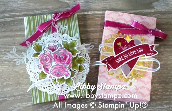 Decorated Sure Do Love You Box (Video). Uses the Love  Box Framelit Dies; Sure Do Love You Bundle; Sweet Soiree Specialty DSP; Vellum Metallich Doilies and Enamel Shapes; Delicate White Doilies; Stampin' Blends; Petals & More Thinlit Dies. See full details on my blog