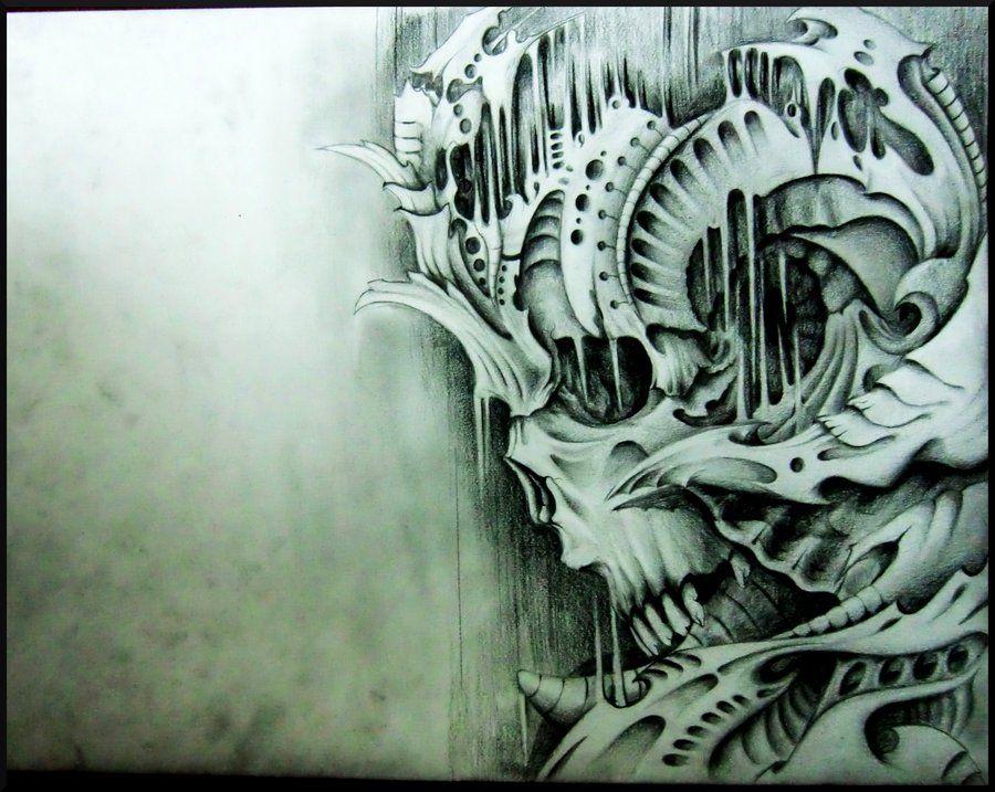 biomechanical+skull+inspired+by+victor+P.+by+ShamelessArt