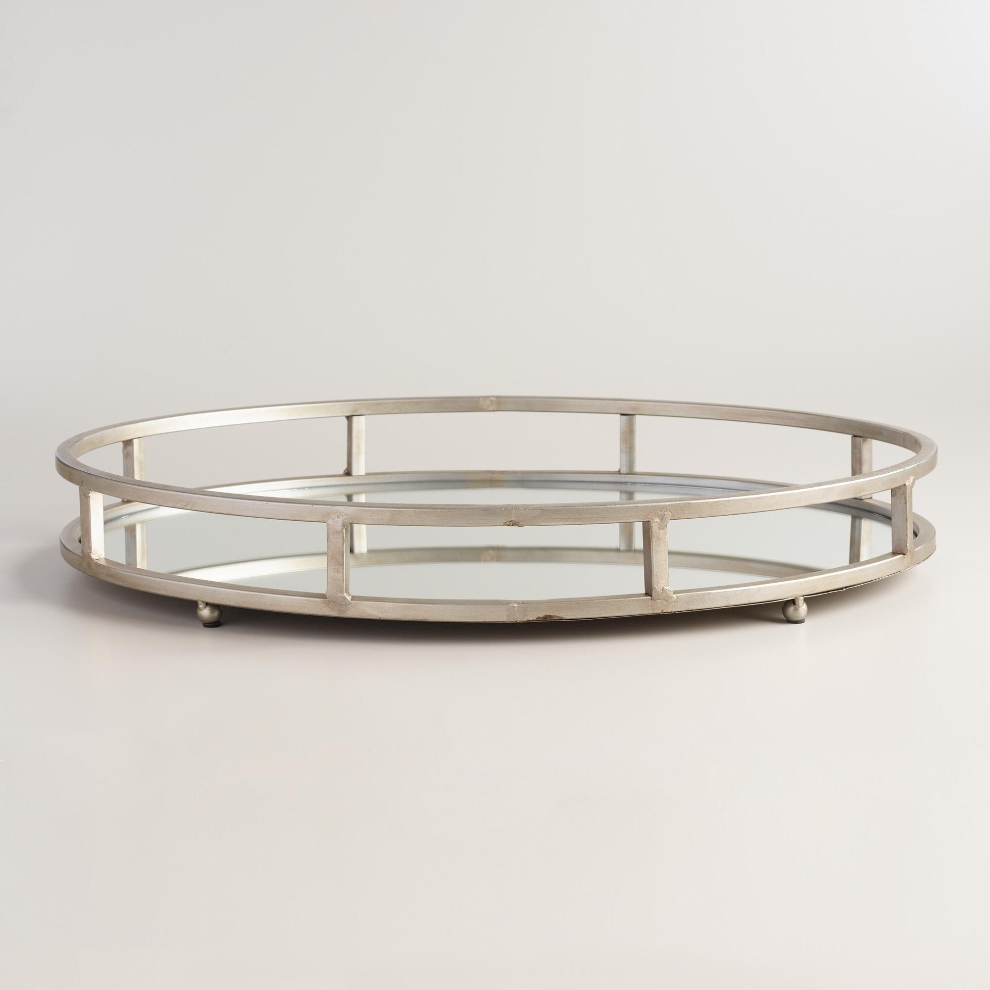 40 Silver Mirrored Round Serving Tray World Market Mirrored Serving Tray Mirror Tray Tray