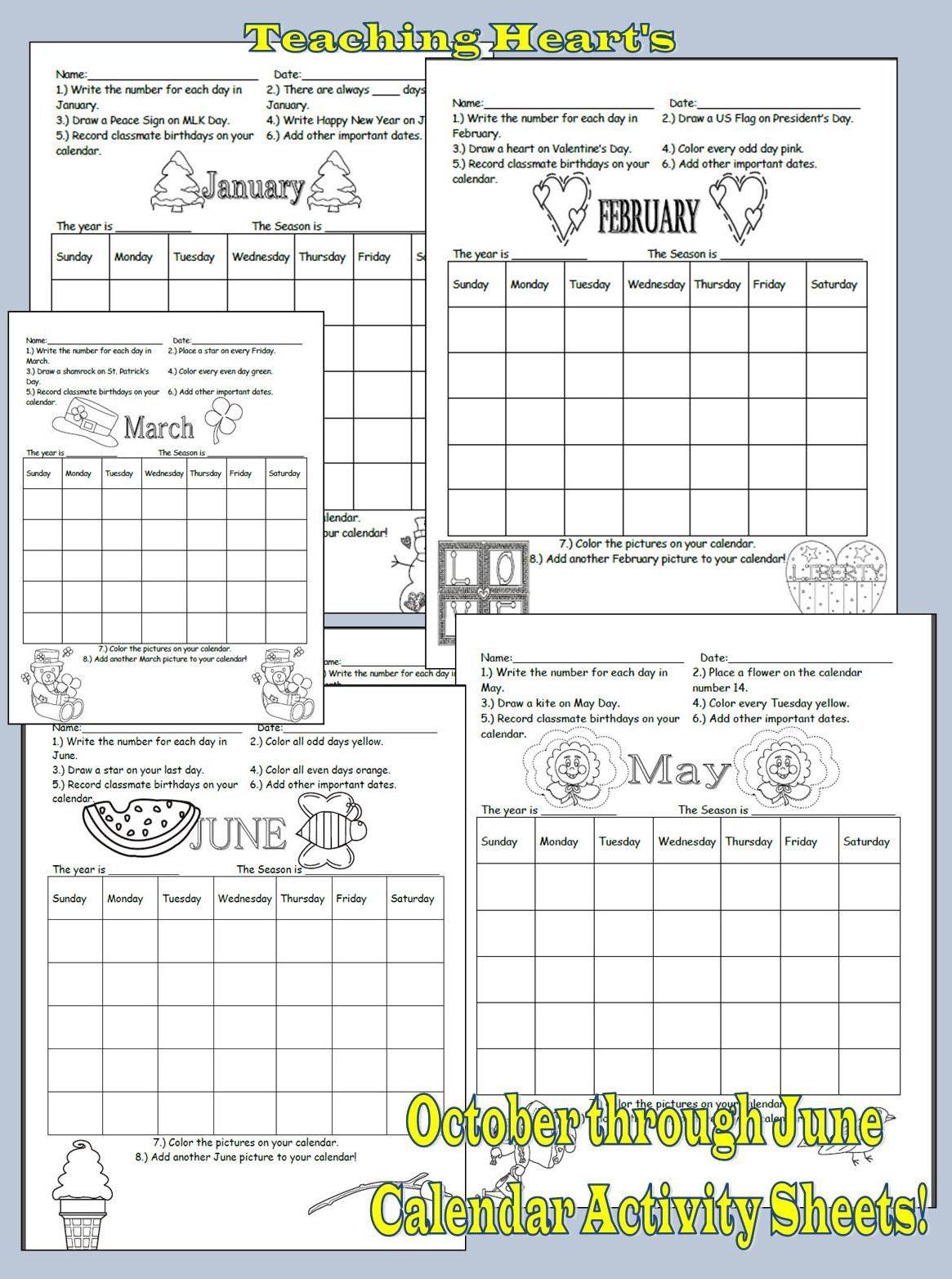 Calendar Skill Activity Sheets