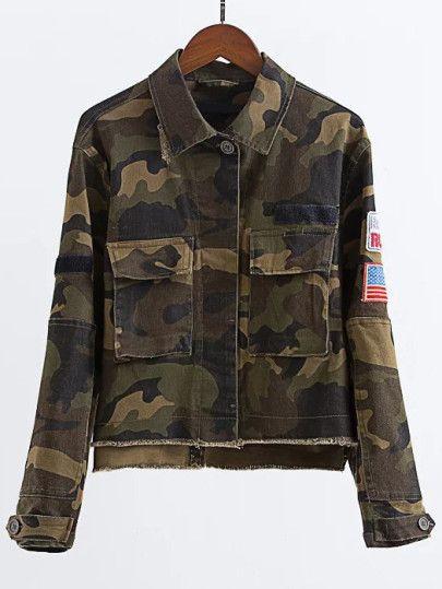 Chaqueta militar patch estampados |