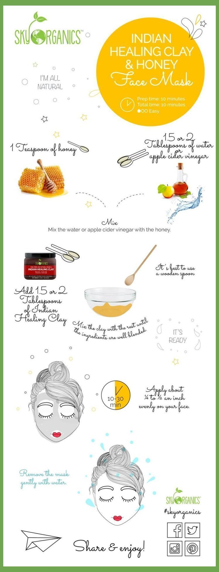 Indian Healing Clay Honey Face Mask | Diy Acne Face Mask Recipes | Pimple Remedi…,  #ACNE #…