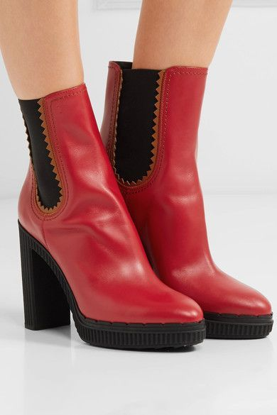 a40361d236cc Tod s - Leather Platform Ankle Boots - Red