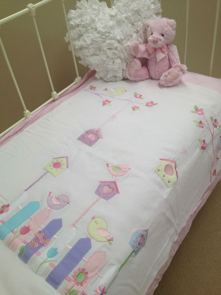 5 Pce Girls Bubba Blue Little Chic Baby Cot Quilt Waffle Cot