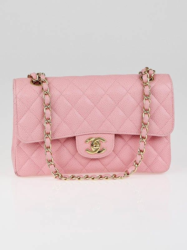 So Cute For Spring Chanel Pink Quilted Caviar Leather Small Classic Double Flap Bag Pink Chanel Used Chanel Bags Chanel