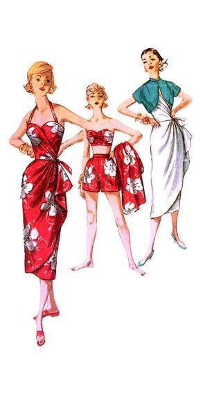 Vintage 1950s 1960s Hawaiian Sarong Sewing Pattern Simplicity 1168 ...