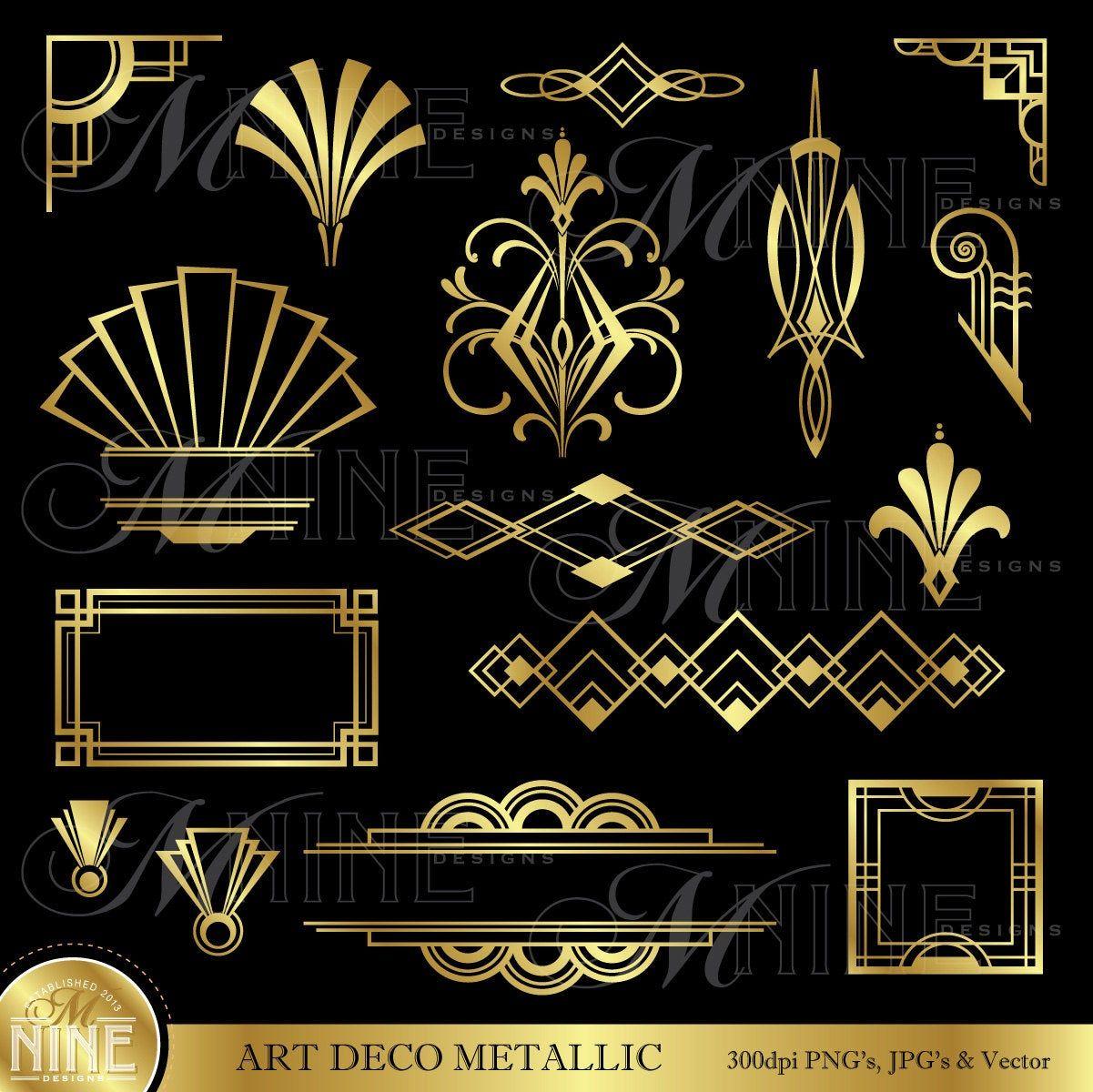 Art Deco Clip Art Gold Art Deco Accents Design Etsy Art Deco Borders Art Deco Wallpaper Art Deco Tattoo