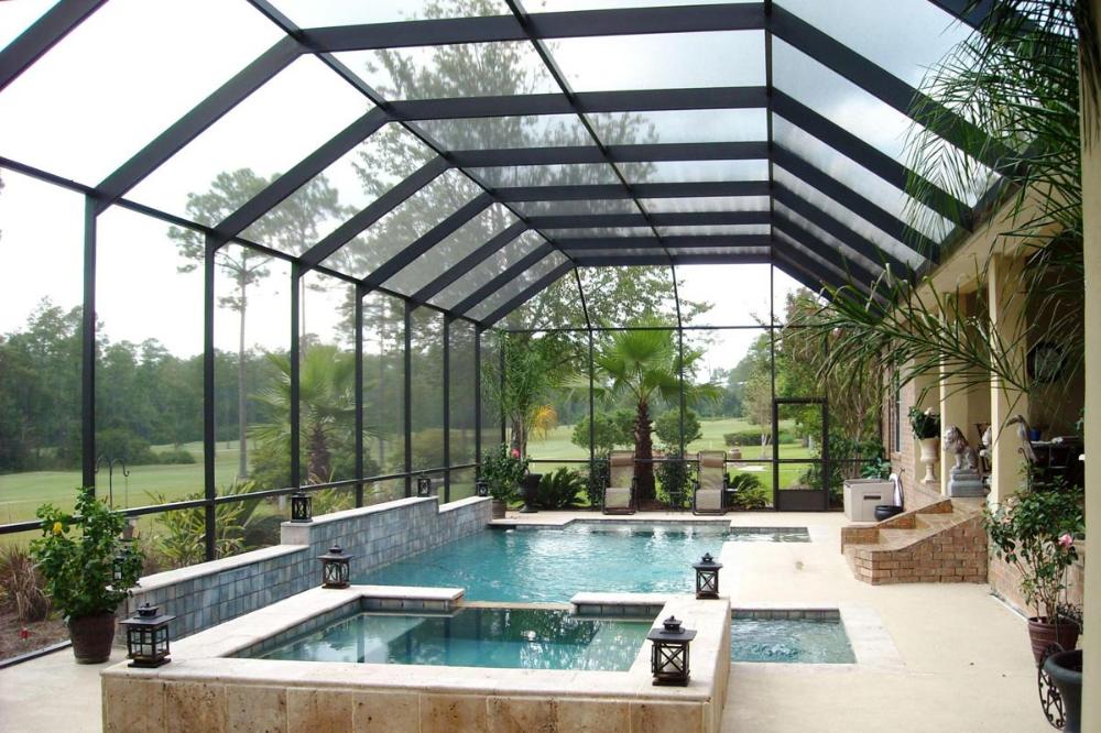 Hot Tub And Pool Screen Enclosure With Mansard Roof Pool Screen Enclosure Pools Backyard Inground Indoor Pool Design