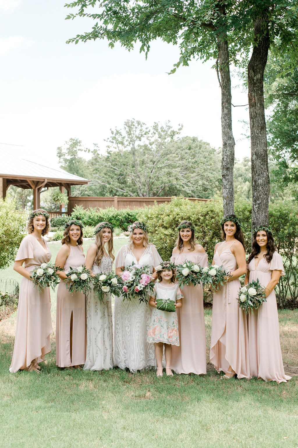 Blush Pink Bohemian Bridesmaids Long Blush Pink Boho Bridesmaid Dresses Outdoor Wedding Bohemian Wedding Flowers Bohemian Bridesmaid Bridesmaid Flowers