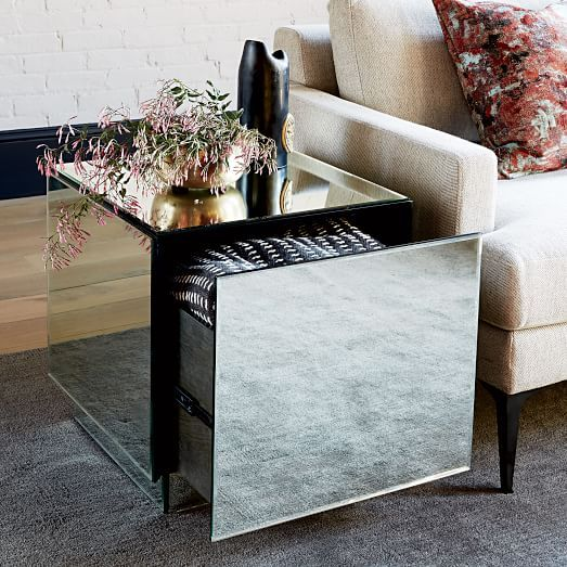 Geo Mirror Storage Side Table West Elm Mirrored Side Tables