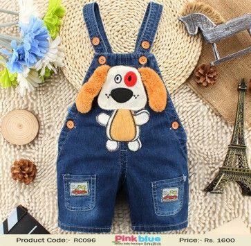 39c7f70754c1 Kids Denim Dungaree in Cartoon Pattern - Designer Baby Unisex Jumpsuits