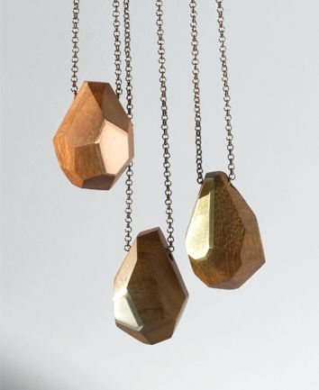 collection of new geometric wooden pendants by Dor jewellery objects