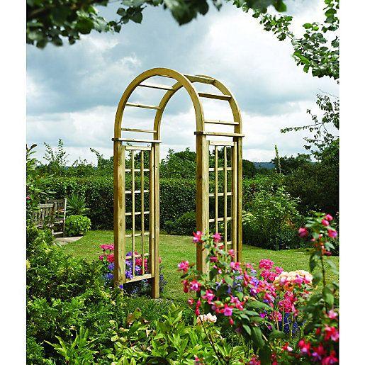 Rowlinson Curved Wooden Trellis Garden Arch 1240 X 650 Mm Garden