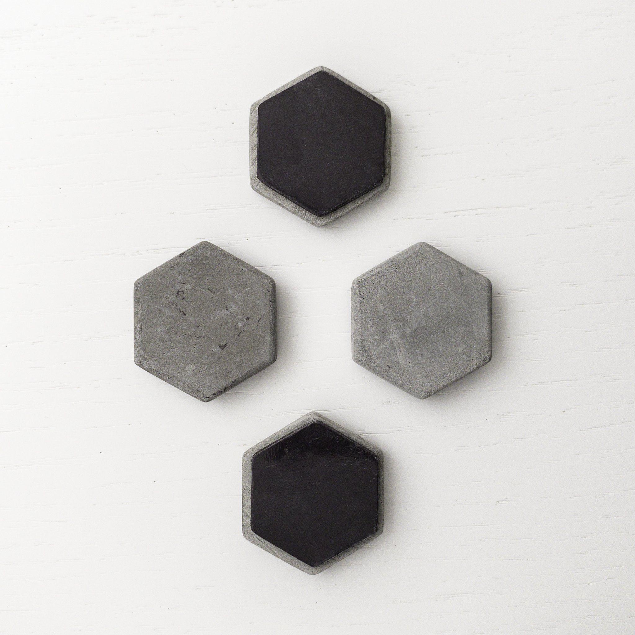 Geometric Magnets - Hand-Cast Concrete - Hexagons - 4pcs