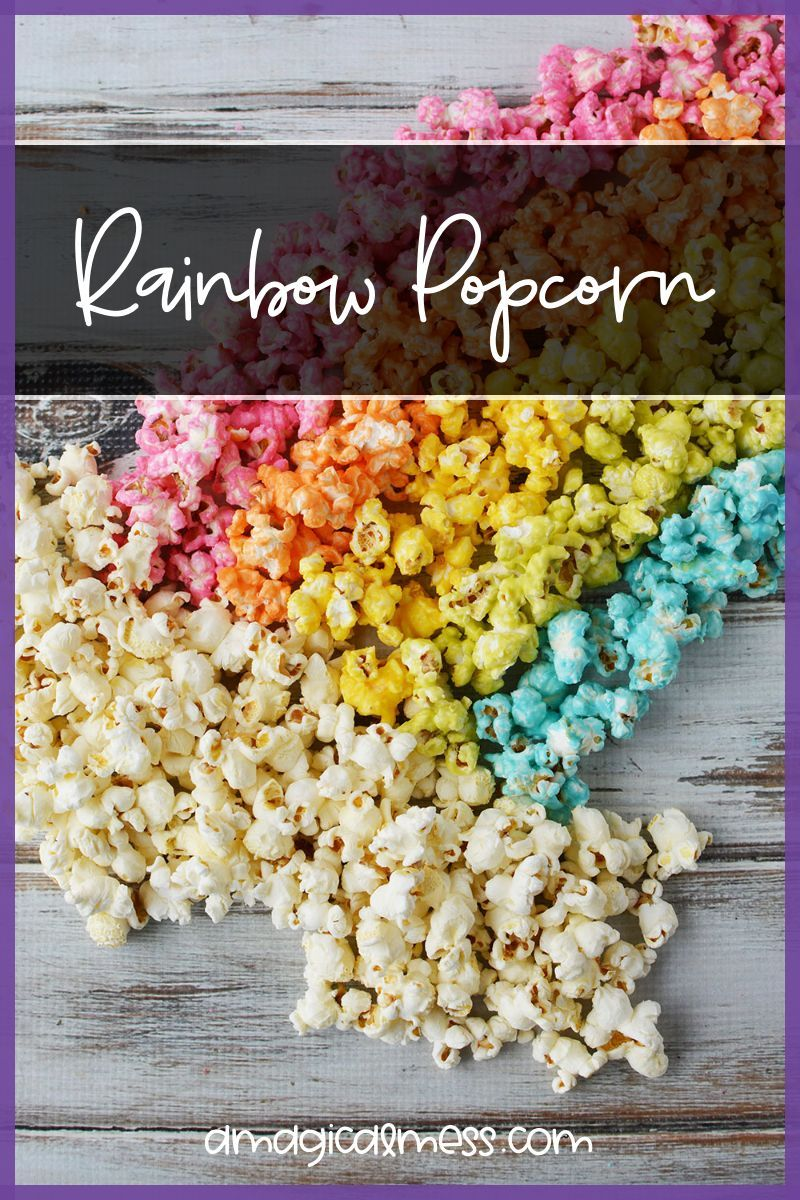 Rainbow colored popcorn