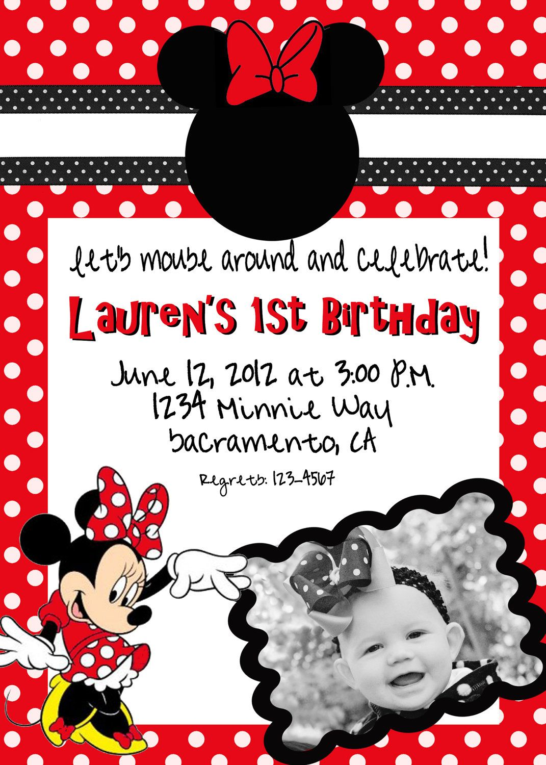 Image detail for -Custom Vertical Minnie Mouse Red Birthday ...