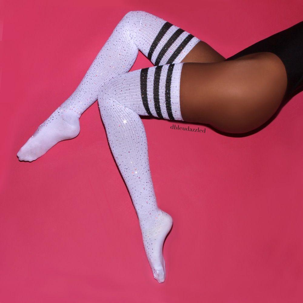 varsity ii crystallized white athletic socks with black stripes