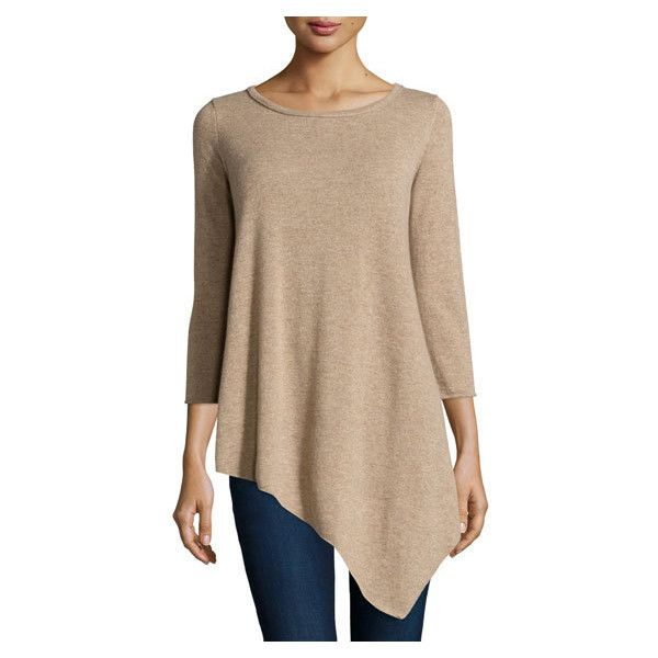 Neiman Marcus Cashmere Long Sleeve Tunic Sweater, Tan ($199 ...