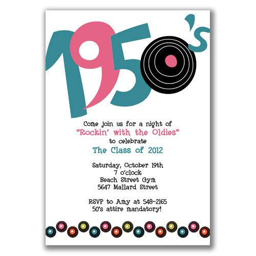 1950 party invitations Buscar con Google Grease party