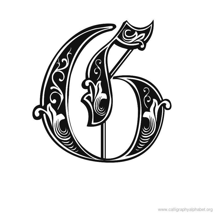 Calligraphy Alphabet Gothic G