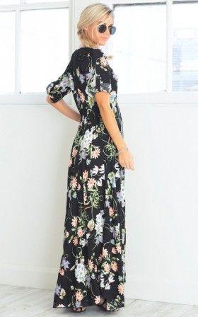 Lone Traveller maxi dress in black floral