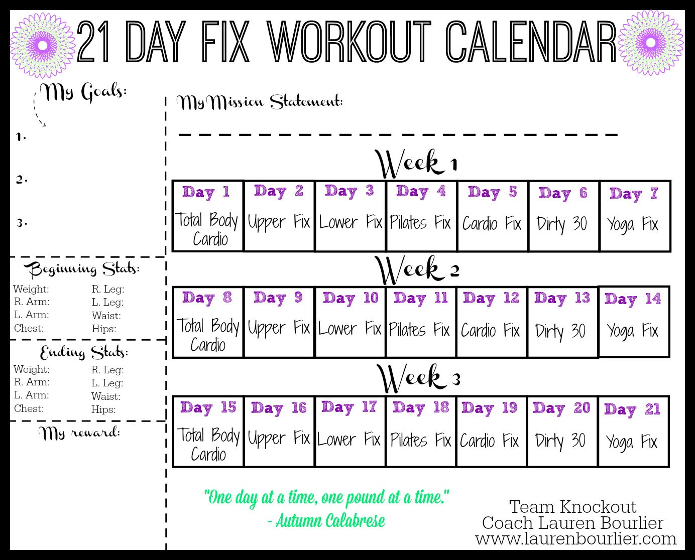 Day Fix Workout Calendar  Lauren Bourlier   Day Fix