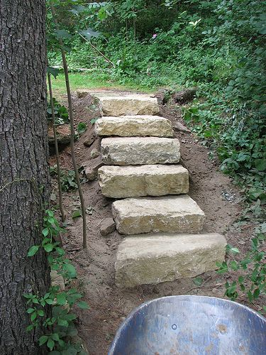 Looking For A Solution For A Steep Hillside This Might Be It Garden Stairs Landscaping With Rocks Backyard Landscaping