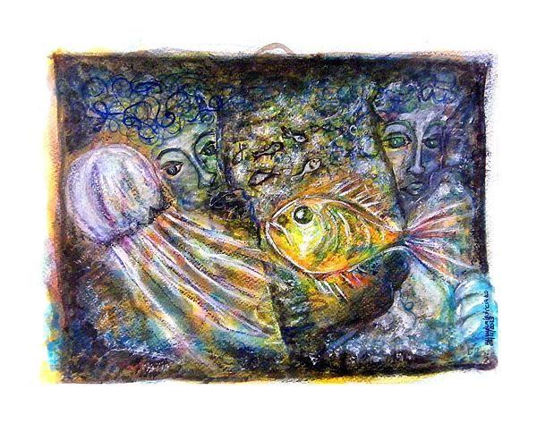 Old Souls Of Atlantis Gouache Ink Pastel Pencils On Heavy