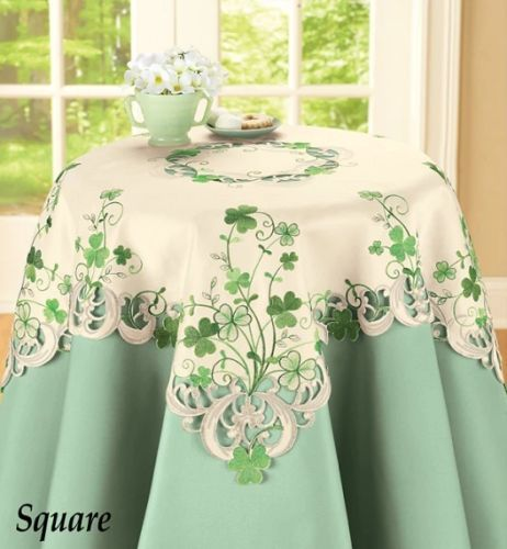 Embroidered Irish Shamrock Table Linens Multi Square Co