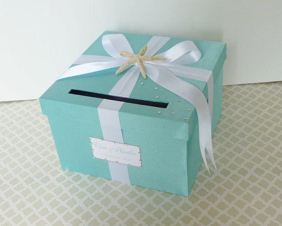 Wedding Card Box Tiffany Blue Beach Theme Starfish Money Holder