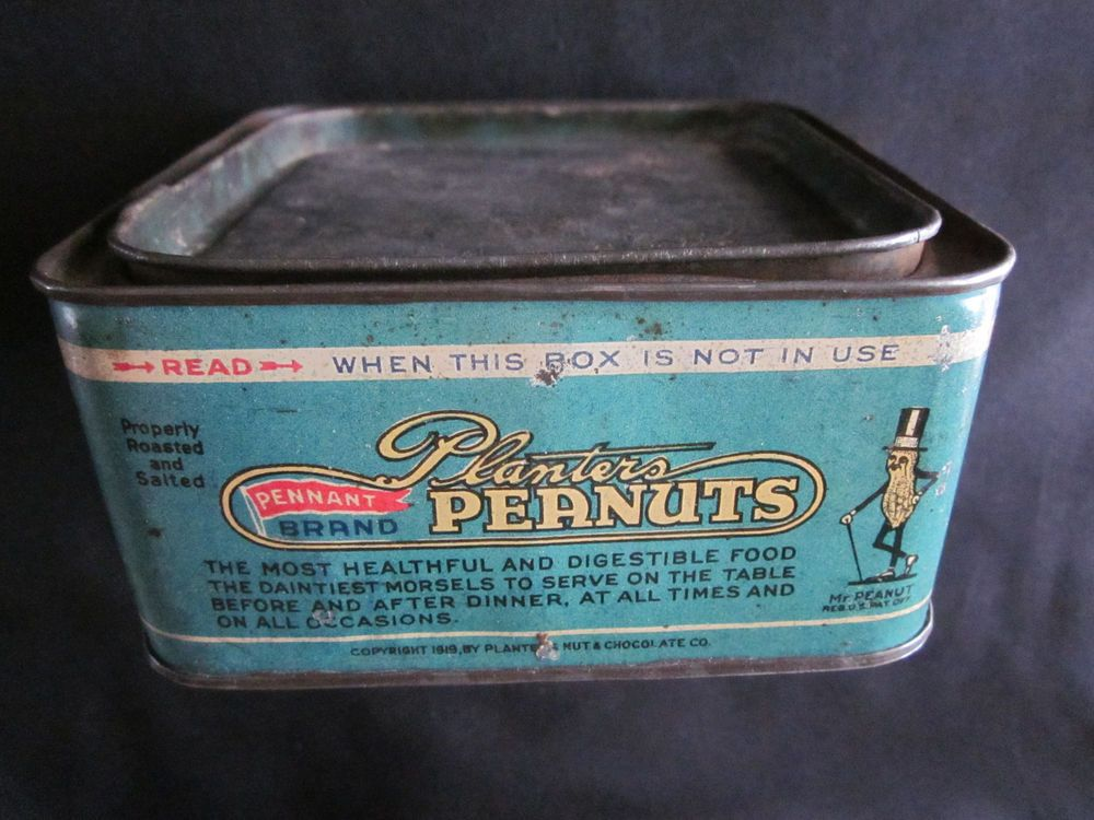 1919 Planters Peanuts Mr. Peanut Pennant Brand Advertising Tin in Collectibles, Advertising, Food & Beverage | eBay