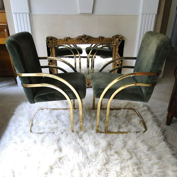 Reserved Vintage Chair Velvet Golden Tubular Brass Art