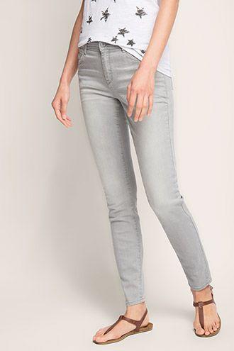 Esprit / Smalle stretchjeans in trendy grijs