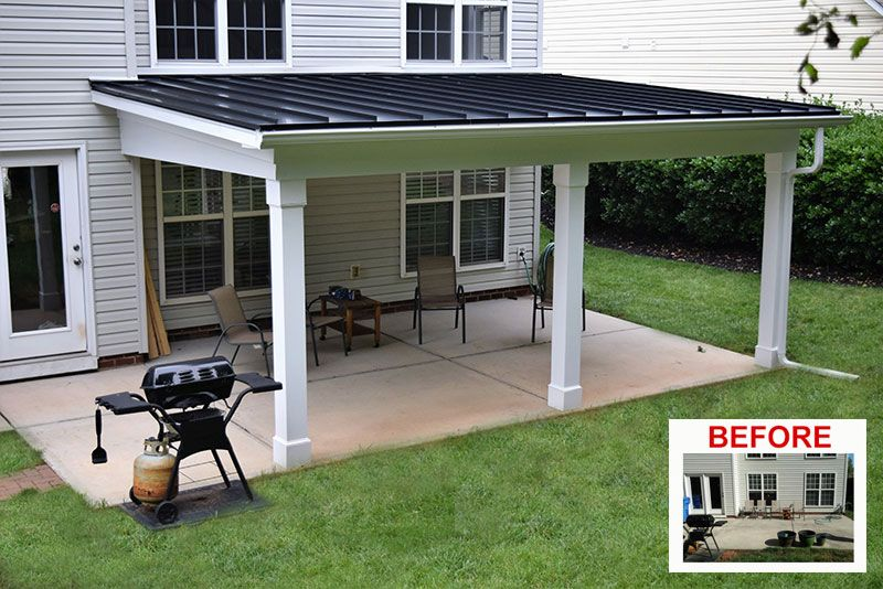 Jag Built A Simple Shed Roof Covered Porch With All Low Maintenance Material Black Metal Roof In 2020 Outdoor Covered Patio Backyard Covered Patios Porch Roof Design