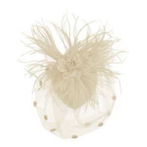 Zad Womens Ivory White Feather Mesh Fascinator Hair Clip Cocktail Hat w Flower | eBay
