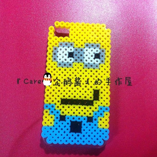 Minion smartphone cover case perler beads by shangdiepowu