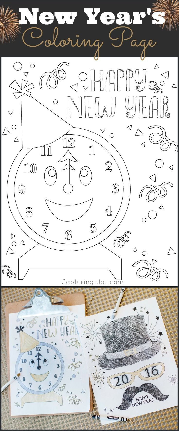 Happy Holidays: New Years Eve Coloring Pages   Count, Holidays and ...