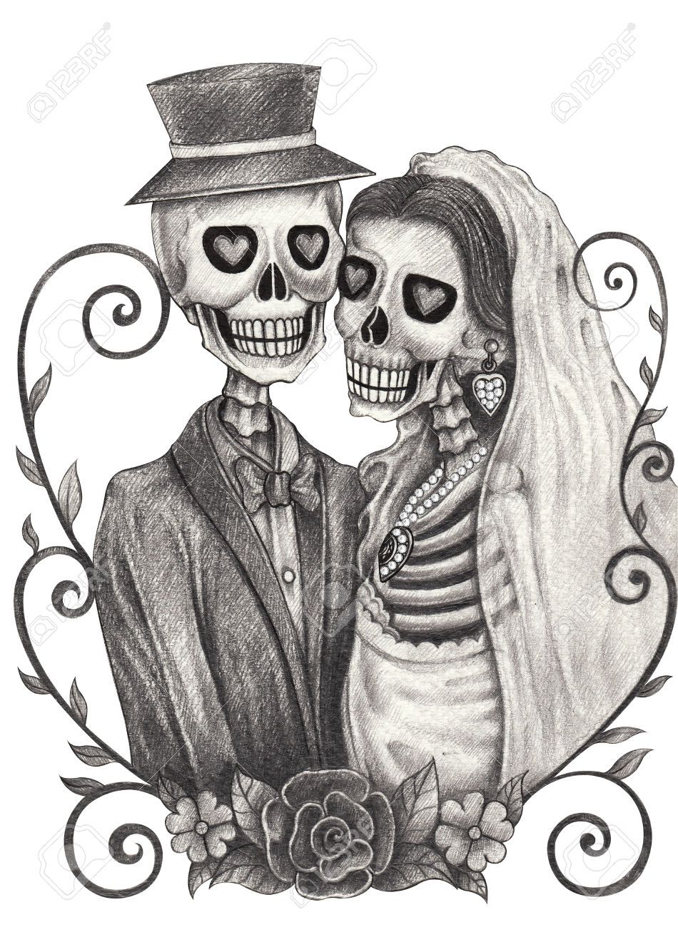 f23ee8a9d skeleton bride and groom drawing - Google Search | couple tattoo ...