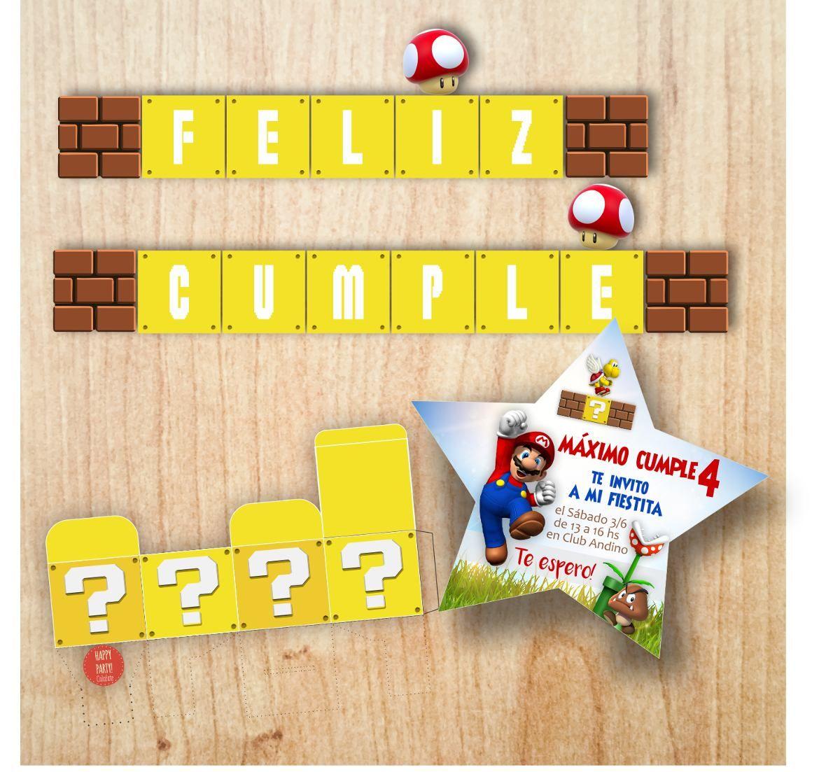 Mario Bros Kit Imprimible Candy Bar Y Decoracion 350 00 En