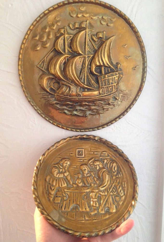 Antique Brass Wall Plates Glamorous 2 Vintage Antique Brass Hanging Wall Plates Plaques Tavern & Ship Design Inspiration