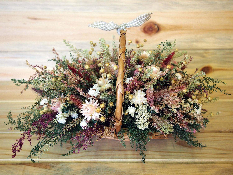 Dried Flowers In Basket Dried Flowers Flower Arrangements Flowers