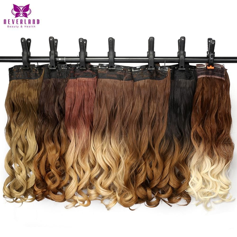 24 60cm Ombre Wavy 5 Clips One Piece Clip In Hair Extensions Wigs
