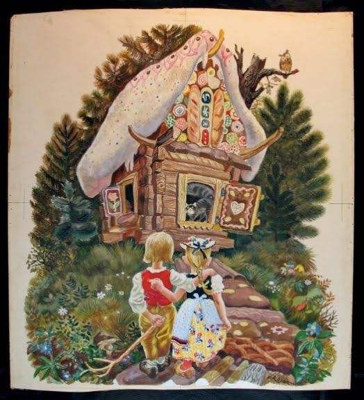 Hansel and Gretel, illustrated by Feodor Rojankovsky.  The cottage looks like it belongs to Baba Yaga.