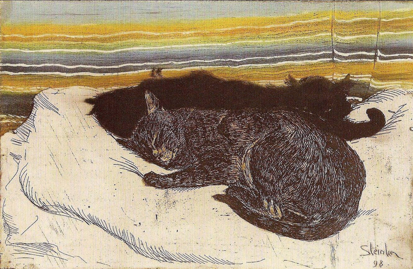 In 1898 Steinlen published the wonderful Des Chats, Images sans paroles, a large folio of 26 plates  featuring humorous cartoon sequences of playful cats getting into all sorts of trouble.
