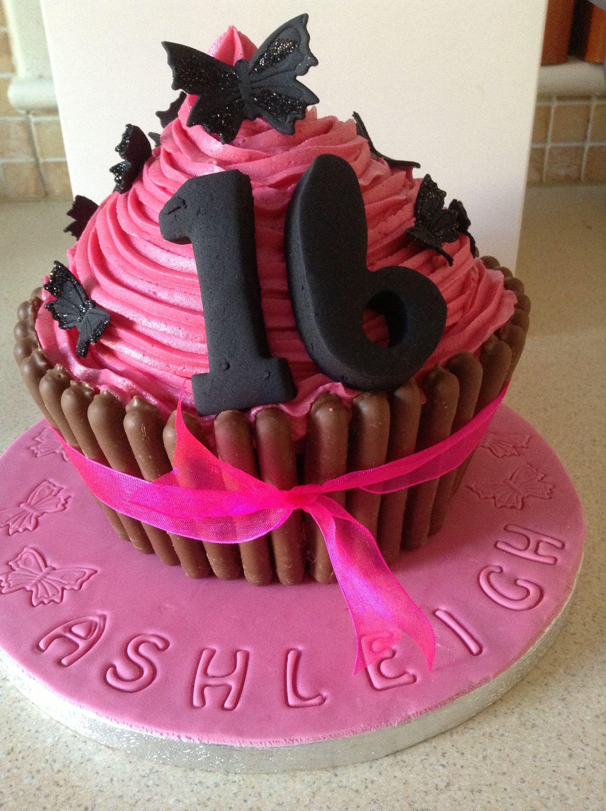 Fuchsia pink 16th giant cupcake celebration cakes giant