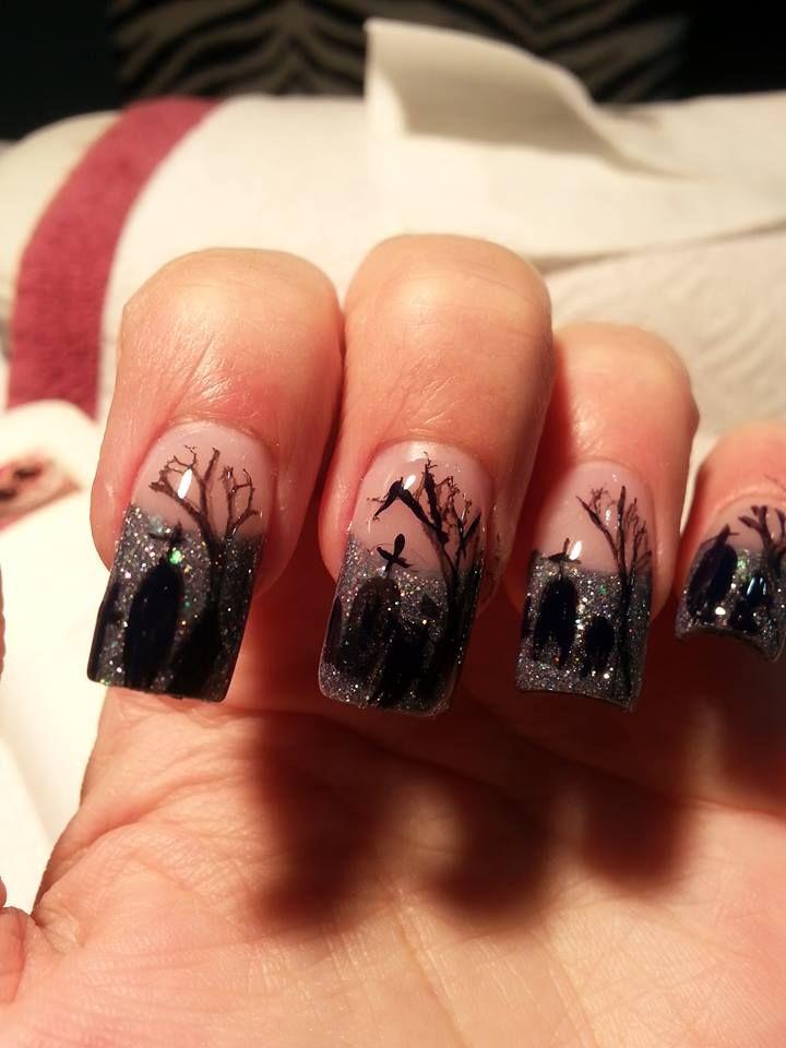 Halloween graveyard scene..Tammy Taylor nail products ...