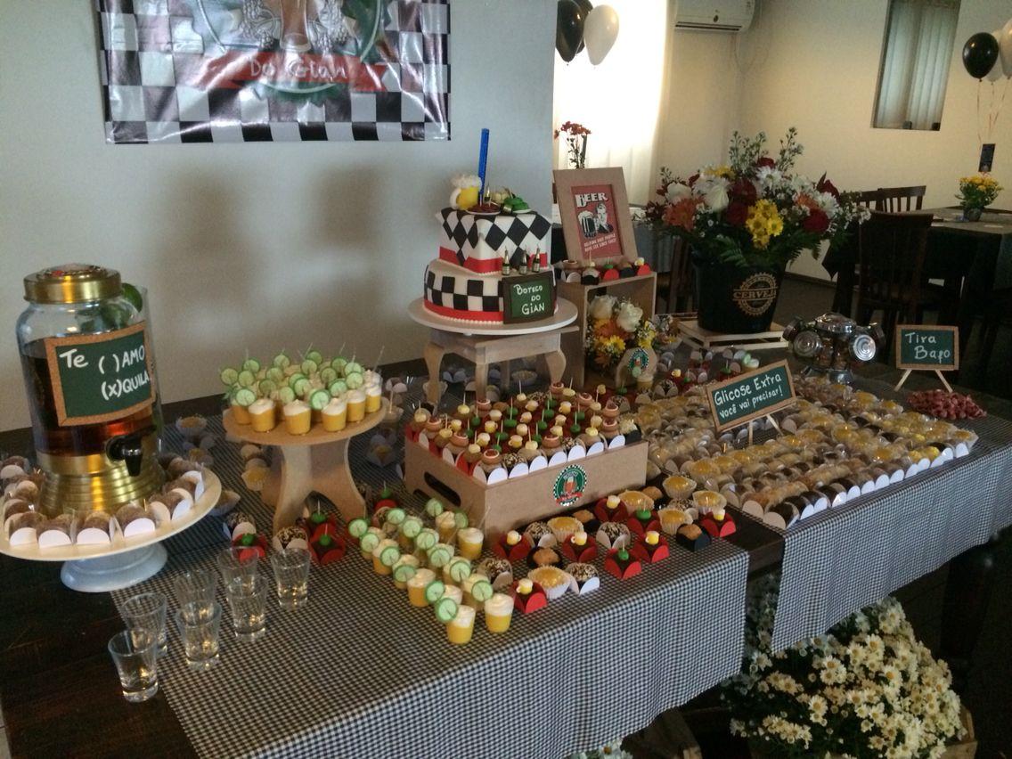 Mesa de doces festa boteco Decor Festa Boteco Comida de boteco, Decoraç u00e3o festa adulto e Festa # Decoração Festa De Boteco Para Homem