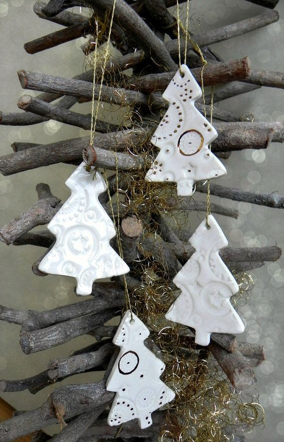 White Gold Ceramic Christmas Tree Ornaments Lace by Ceraminic - christmas decor pinterest