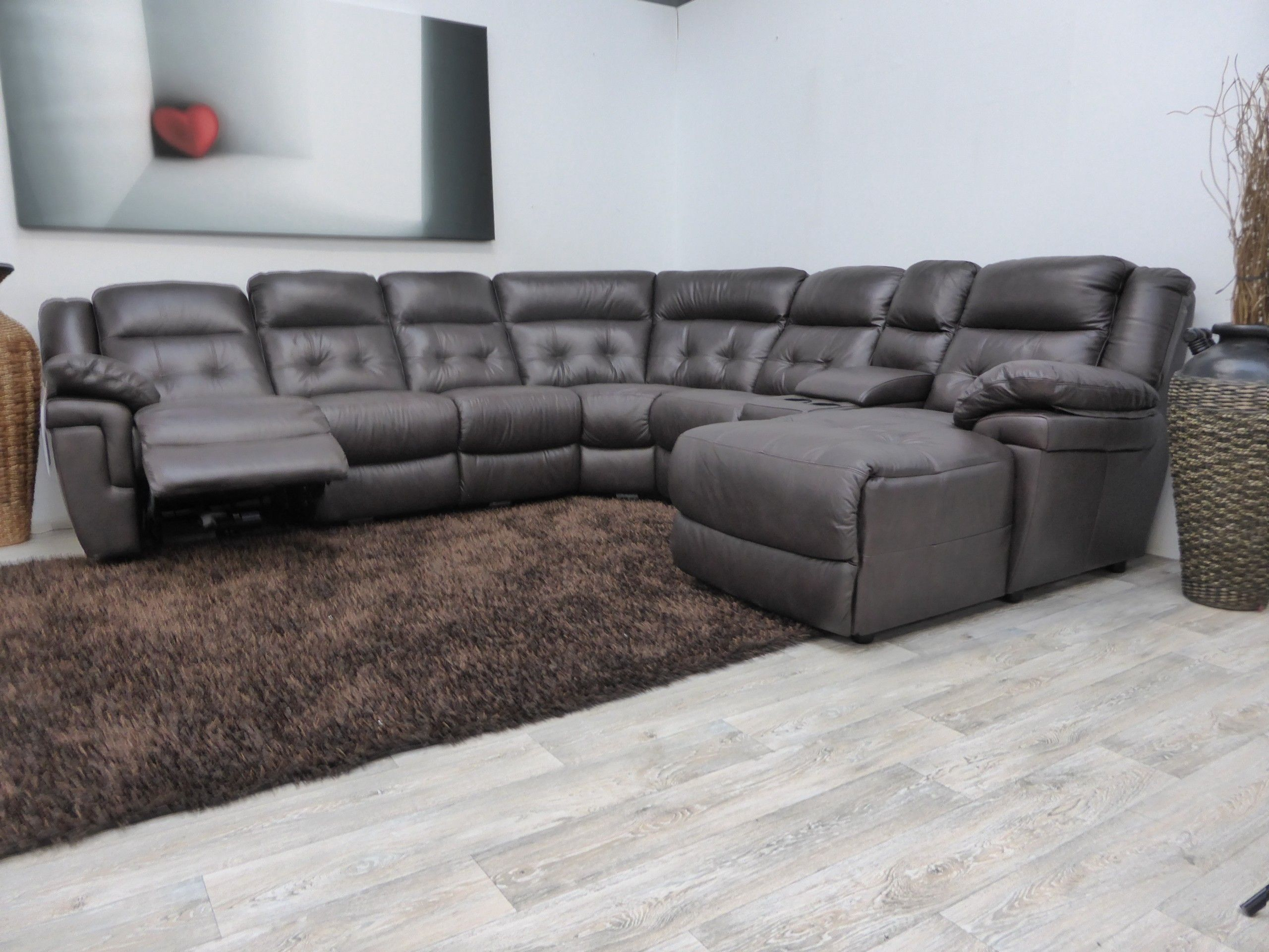 Superb Furniture Living Room L Shaped Gray Leather Sectional Sofa With Chaise And  Recliner Lazy Boy Leather